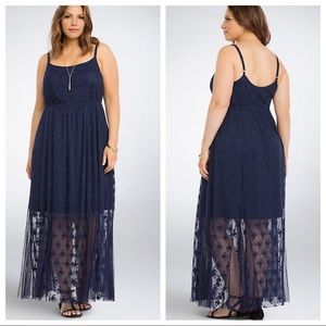 Torrid Lace & Mesh Maxi Dress